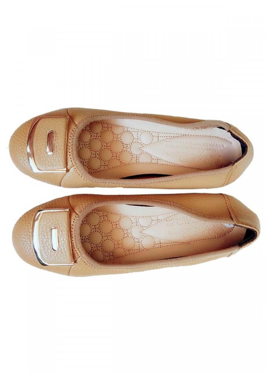 Giày Búp Bê Nữ Da Bò Thời Trang Màu Kem - TC03572