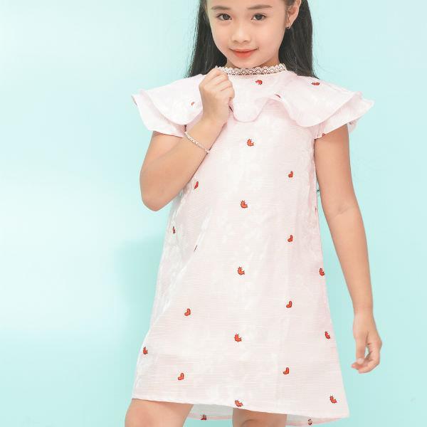 Đầm Suông Bé Gái Bèo Phối Ren Cổ Ugether UKID199