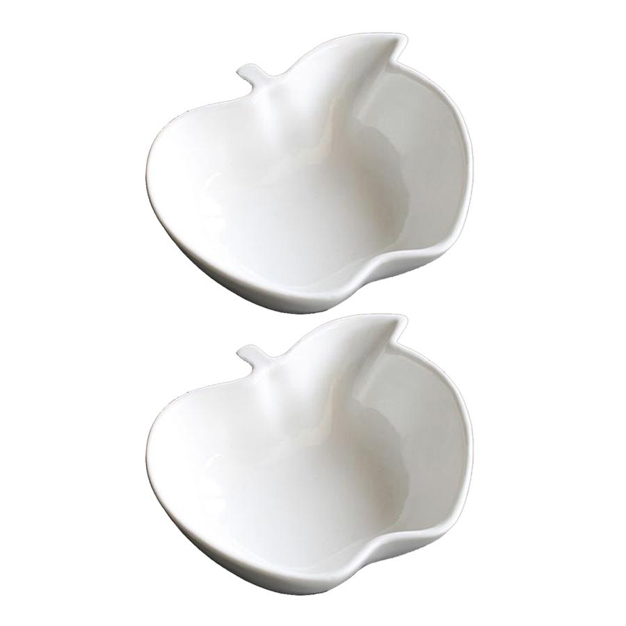 Combo 2 bát sứ cao cấp hình quả táo màu trắng sang trọng  -  Hàng Nội Địa Nhật