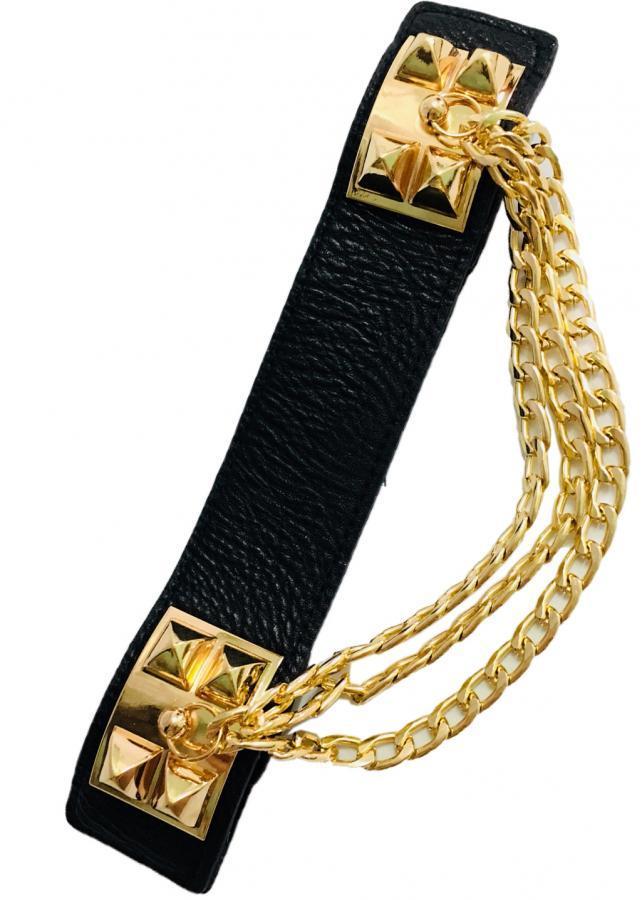 Thắt lưng nữ mặc đầm cho bạn nữ phối dây xích mạ vàng DX01 (dây đen)