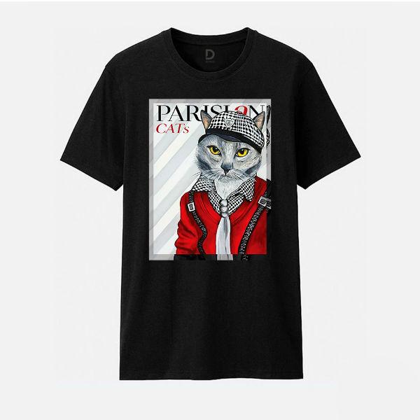 Áo T-shirt Trẻ Em Parisian Cat B Dotilo HU011A - Đen