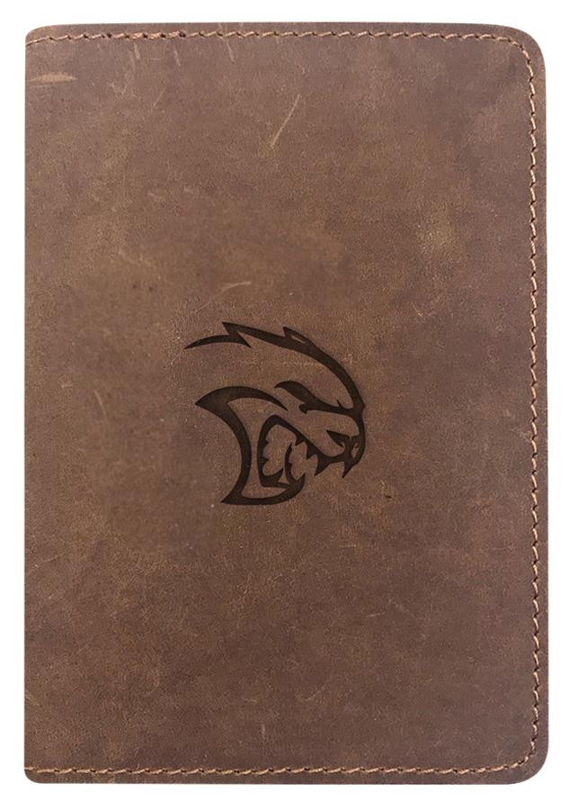 Bao Da Hộ Chiếu Passport Cover Da Sáp Khắc Hình Mèo Quỷ - Màu Nâu