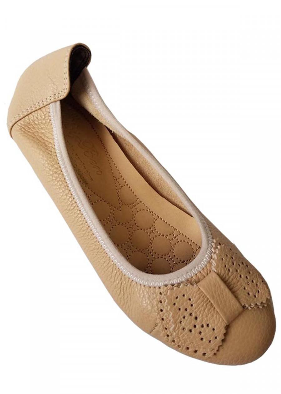 Giày Búp Bê Nữ Da Bò Thời Trang  Màu Kem - TC03571