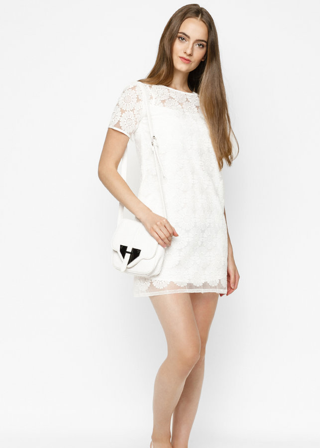 Đầm Nữ Dáng Suông Phối Ren Mint Basic - Trắng