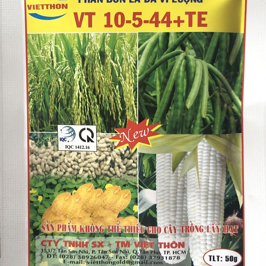 Phân bón lá cao cấp Việt Thôn đa vi lượng VT 10-5-44 +TE tăng cường dinh dưỡng cho cây lấy hạt hoa màu (gói x 50gr) - 1294817 , 5378207681816 , 62_14257410 , 59000 , Phan-bon-la-cao-cap-Viet-Thon-da-vi-luong-VT-10-5-44-TE-tang-cuong-dinh-duong-cho-cay-lay-hat-hoa-mau-goi-x-50gr-62_14257410 , tiki.vn , Phân bón lá cao cấp Việt Thôn đa vi lượng VT 10-5-44 +TE tăng cườ