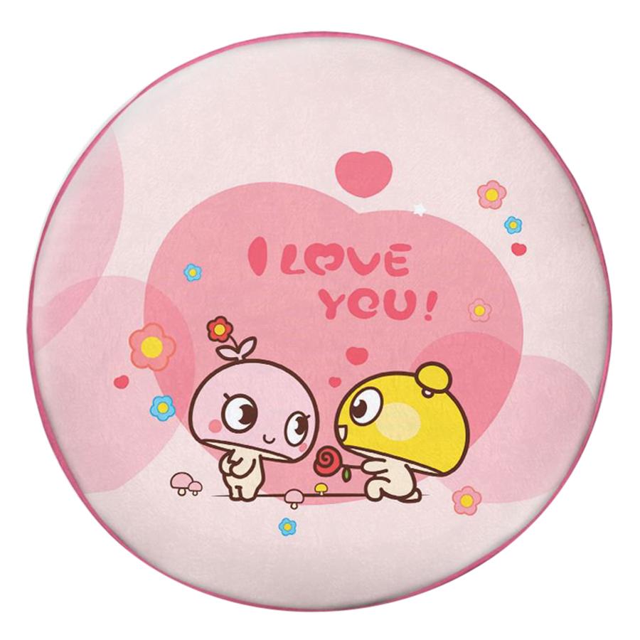 Gối Ôm Tròn In Hình Đôi Nấm I Love You - GOCP265