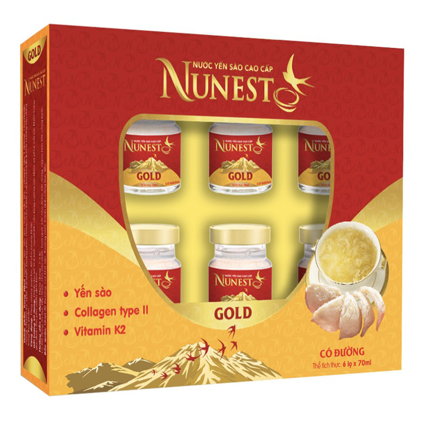 Lốc yến sào collagen vitamin K2 Nunest Gold (6 lọ x 70ml)