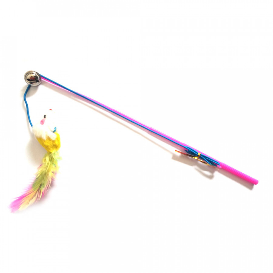 Trick Cat Stick Wand Bell Toy Feather Dangler Teaser Play Pet For Fun Training