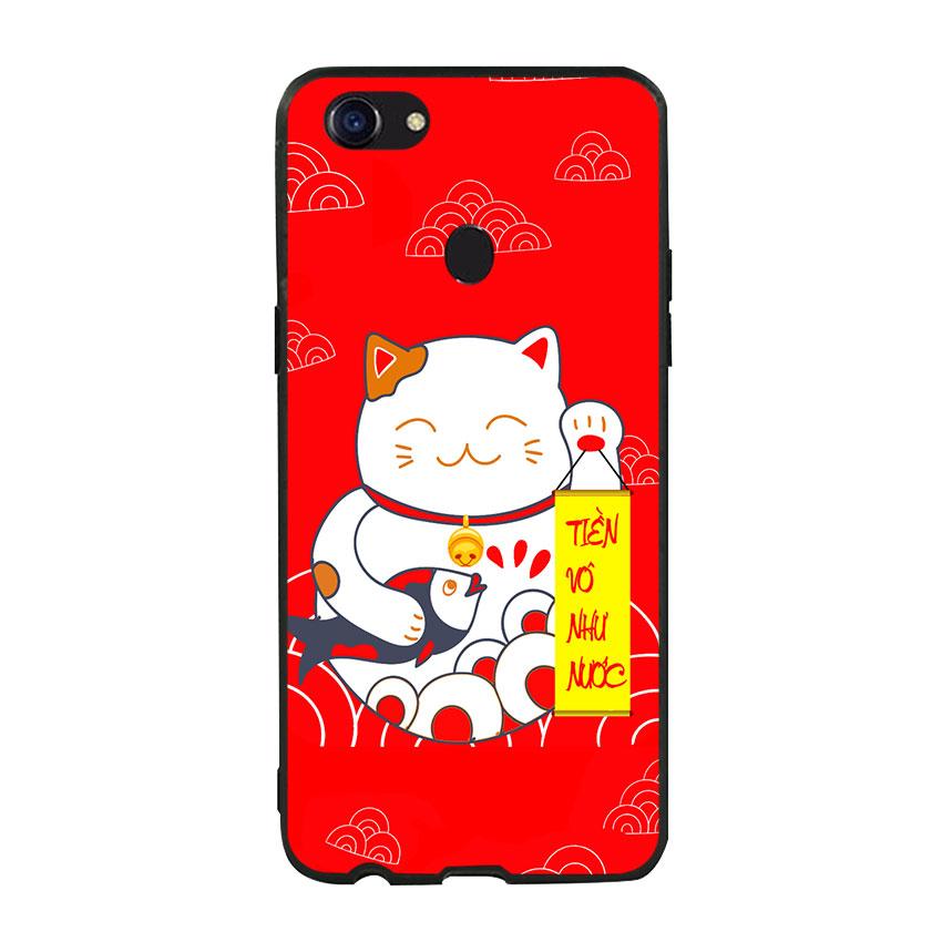 Ốp lưng viền TPU cho Oppo F5 - Mèo May Mắn 01