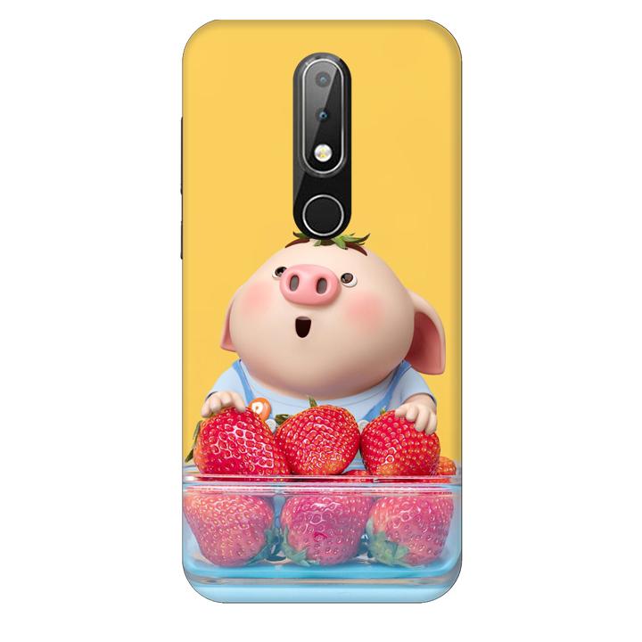 Ốp lưng nhựa cứng nhám dành cho Nokia X6 in hình Heo Con Dâu Tây