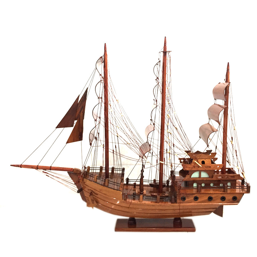 Mô hình thuyền gỗ trang trí Thái Lan - thân 60cm - gỗ tràm