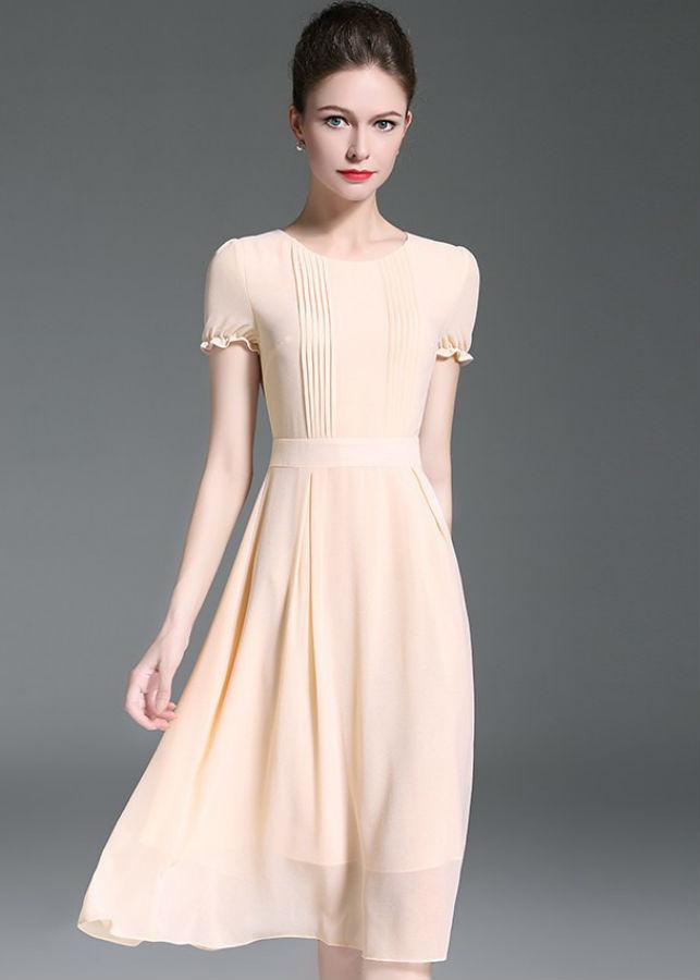 Đầm Xòe Nữ Tay Ngắn DRESS253N - Cam Nhạt