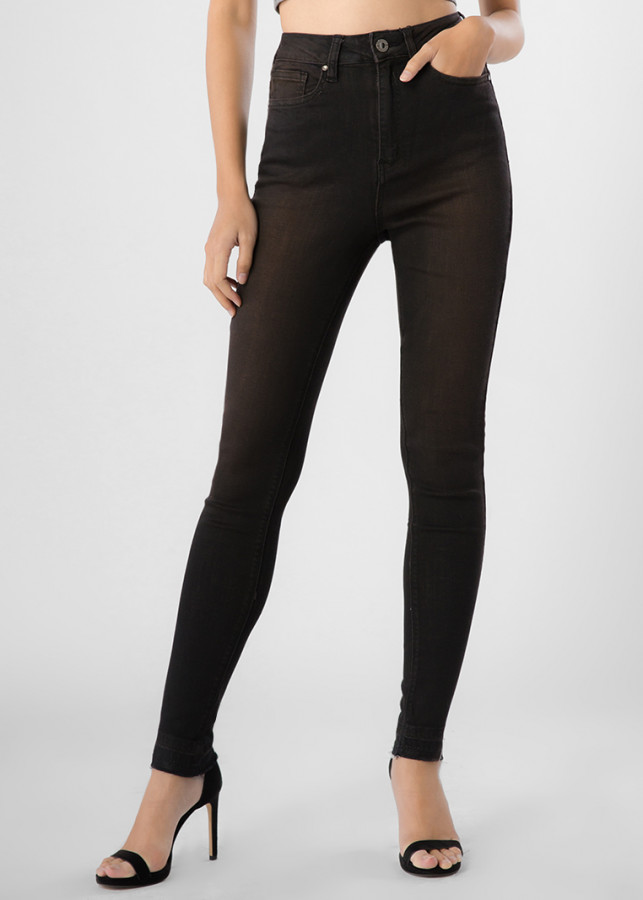Quần Jeans Nữ Skinny Lai Tua Wash Lưng Cao Bigsize 412 (Nâu)