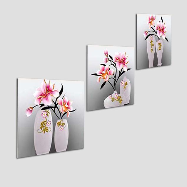 Bộ tranh 3 tấm hình vuông treo cầu thang - chất liệu giấy ảnh phủ kim sa - tranh gỗ treo tường