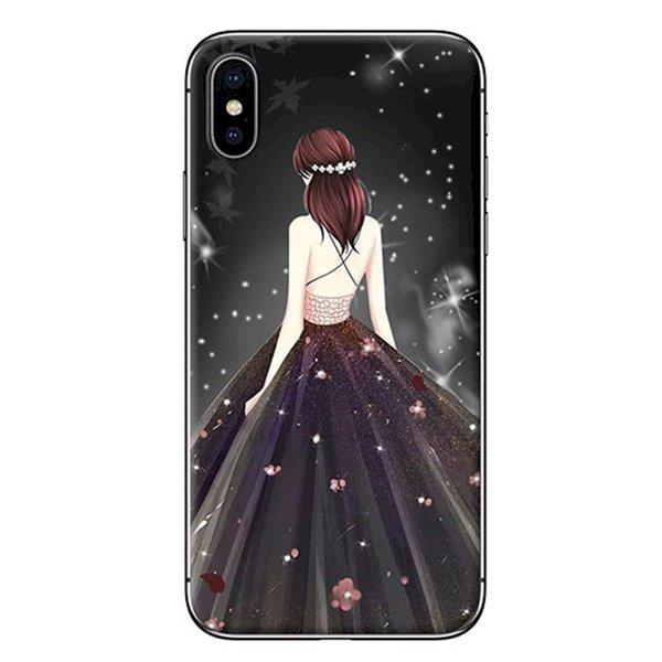 Ốp Lưng Dành Cho iPhone X - Mẫu  Cô Gái Váy Đen Áo Dây