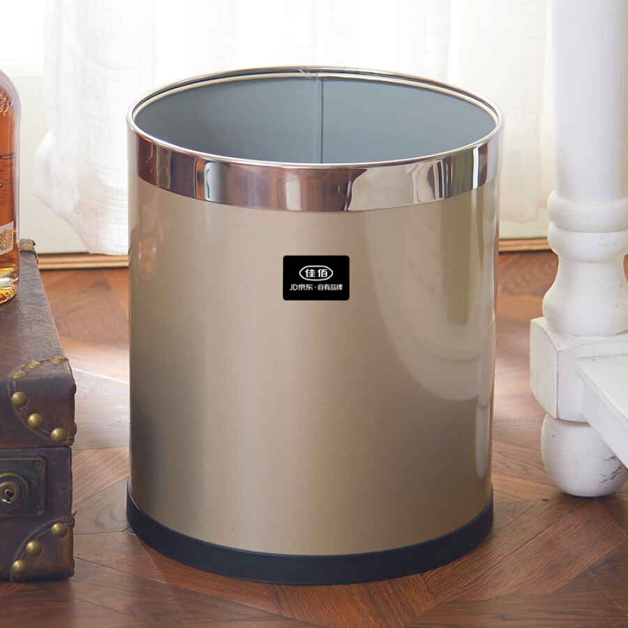 Jiayi living room thickening local gold champagne gold with lid kitchen storage bucket foot stainless steel paper trash can 12L