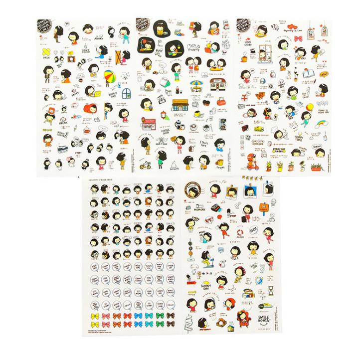 Bộ 6 tấm sticker trang trí nhật ký cuộc sống Cookys girl and Momoi