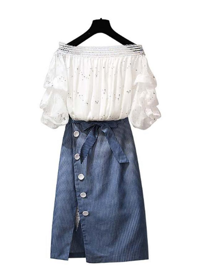 Set Chân Váy Jean Mix Áo Tay Bèo