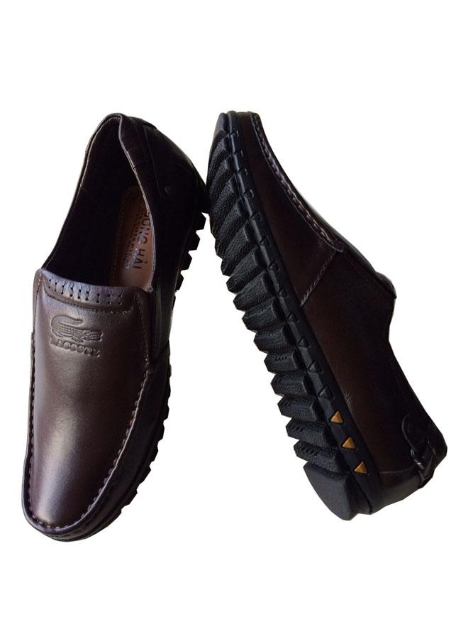 Giày mọi nam Trường Hải nâu da bò cao cấp đế cao su THM022