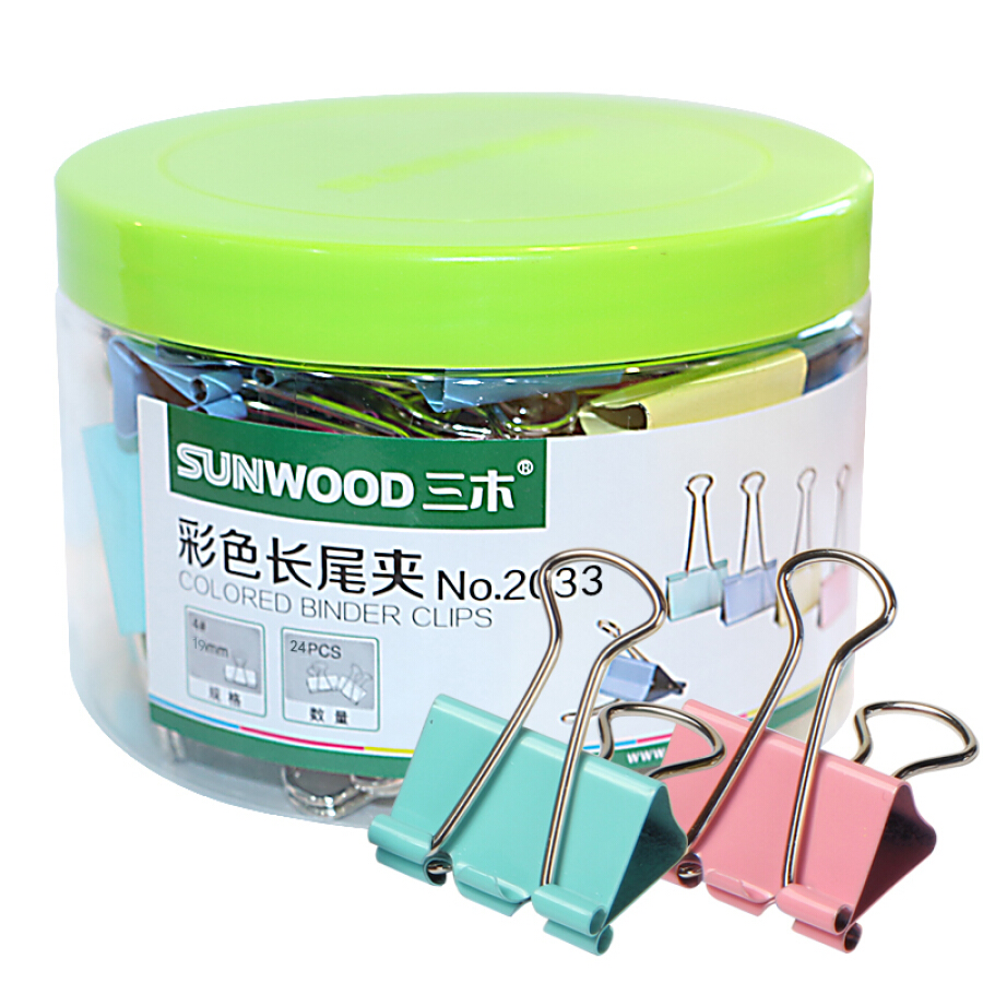 Miki (SUNWOOD) 2033 32mm color long tail clip / long tail folder 24 / tube old and new packaging random