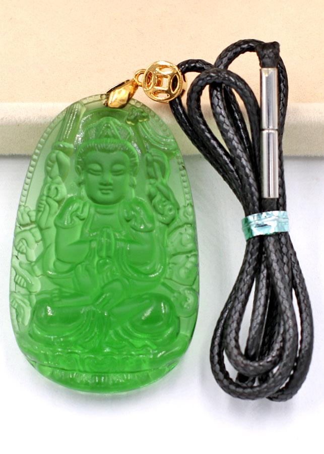 Mặt dây chuyền Phật Thiên Thủ Thiên Nhãn pha lê xanh lá 5 cm - Mặt đá phong thủy - Phật bản mệnh tuổi Tý