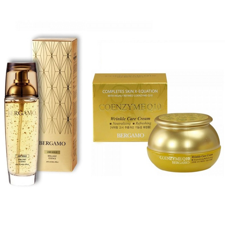 Combo Tinh Chất Serum Bergamo 24k Gold Brilliant  white vita luminant Essence và Kem dưỡng trắng Bergamo Coenzyme Q10 Wrinkle Care...