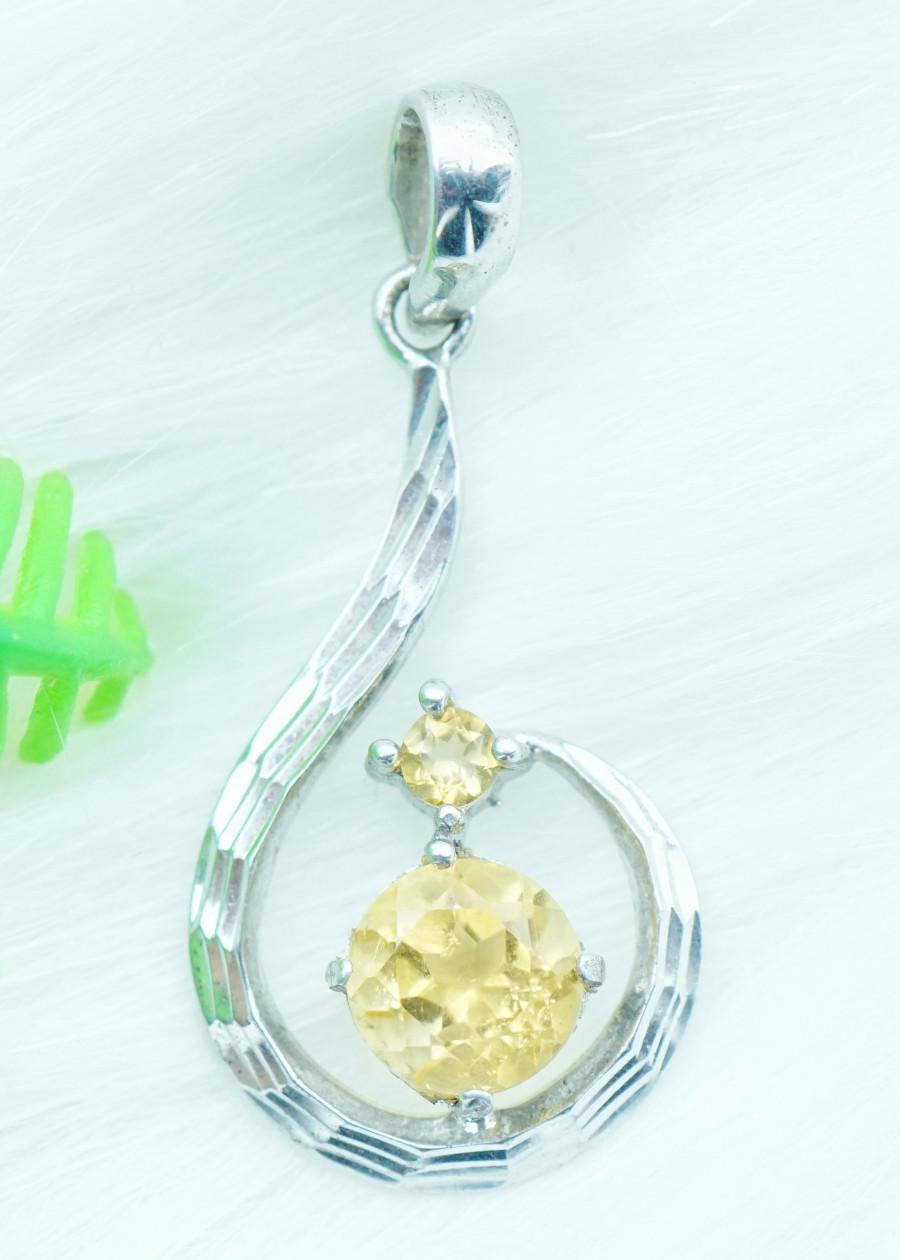 Mặt dây chuyền đá citrine thạch anh vàng tự nhiên kiểu xoắn MC12