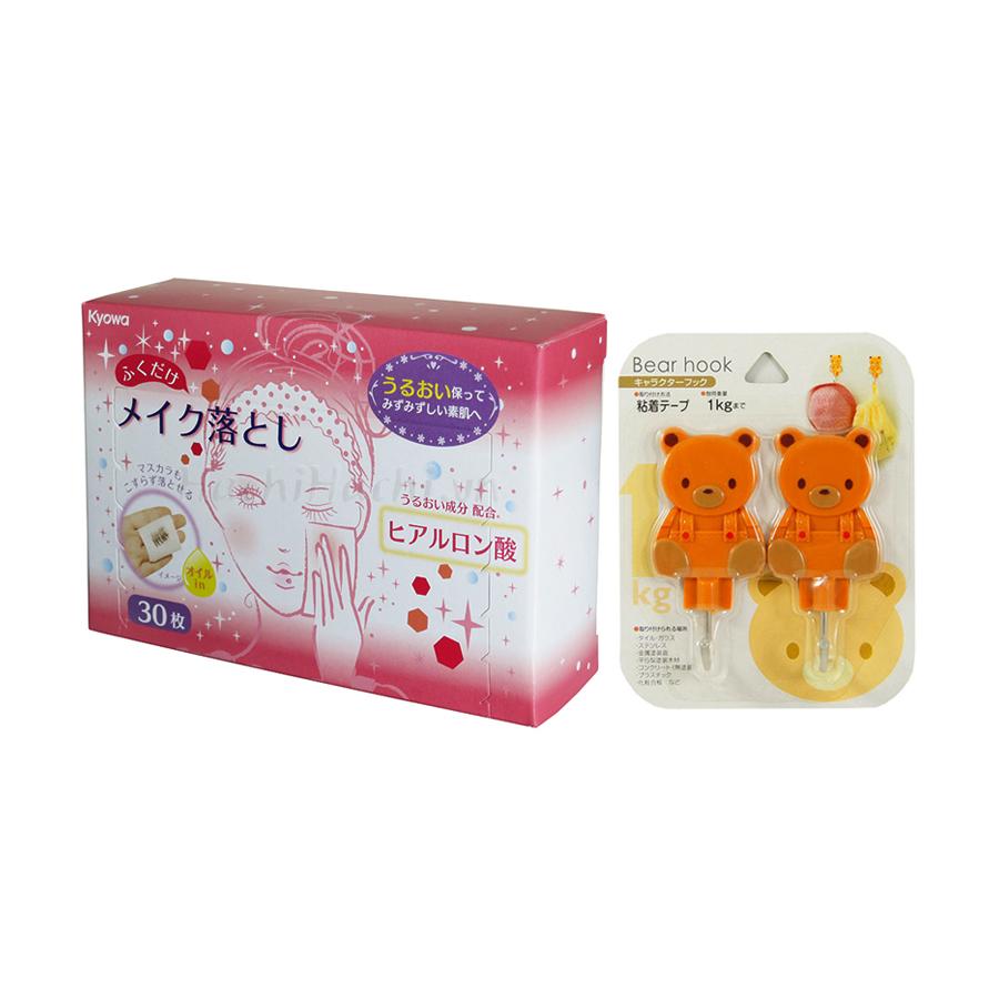 Combo Set 2 móc dán hình gấu + Hộp 30 tờ khăn ướt tẩy trang nội địa Nhật Bản
