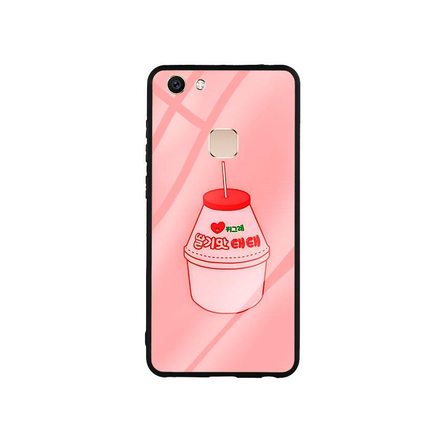 Ốp Lưng Kính Cường Lực cho điện thoại Vivo V7 - Tea Milk