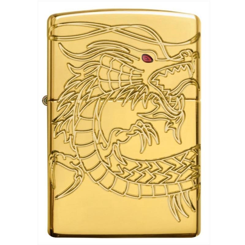 Bật Lửa Zippo Red Eyed Dragon 360 Degree Engraving Gold Plate 29265
