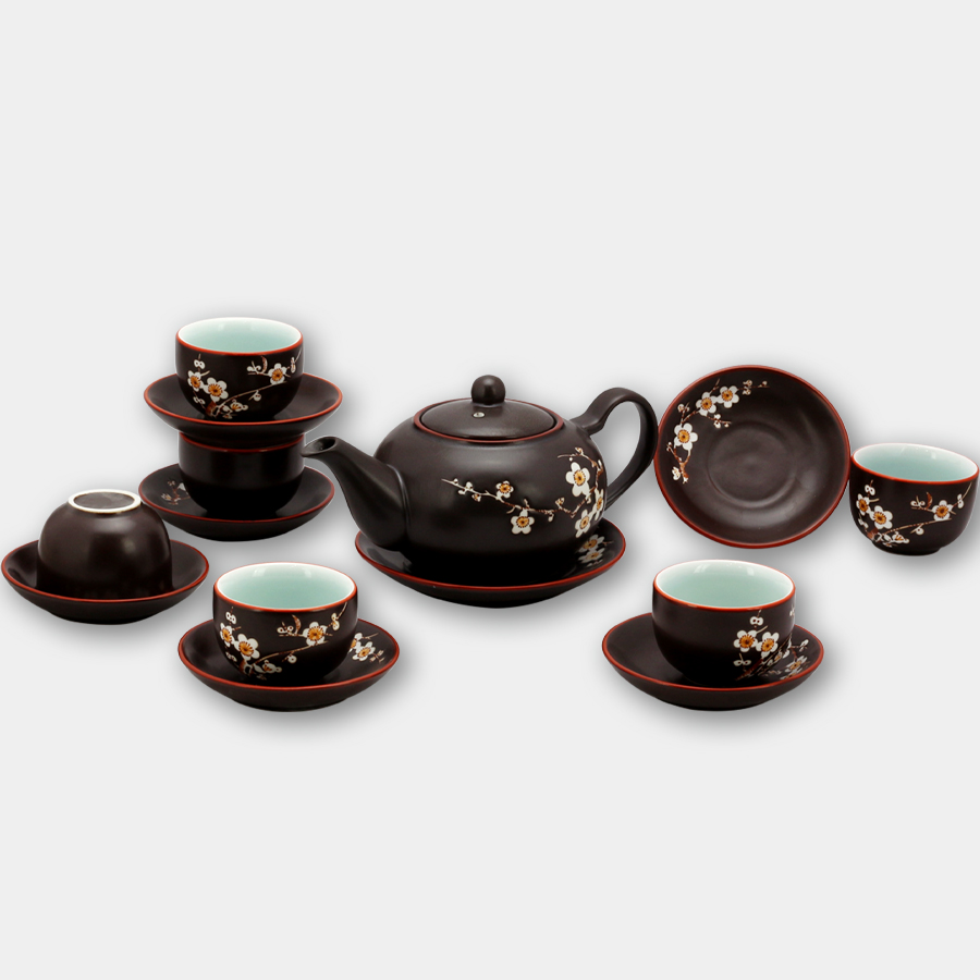 Bộ ấm chén tử sa tròn khắc hoa Đào chính hãng gốm sứ Bát Tràng (bộ bình uống trà, bình trà)