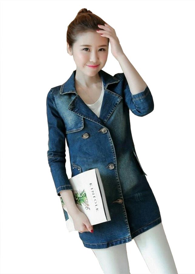 Áo khoác jeans cổ bẻ đẹp kiểu áo khoác jean trẻ trung phối 6 nút GOTI1214325