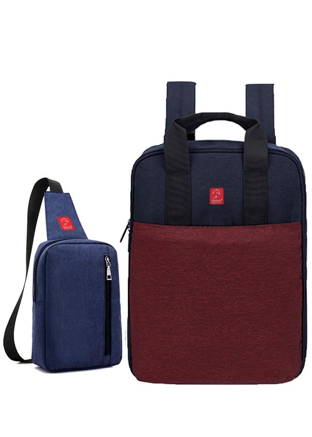 Combo Balo Thời trang Glado Commuter GCO001 - Màu Đỏ và Túi Messenger DCG026