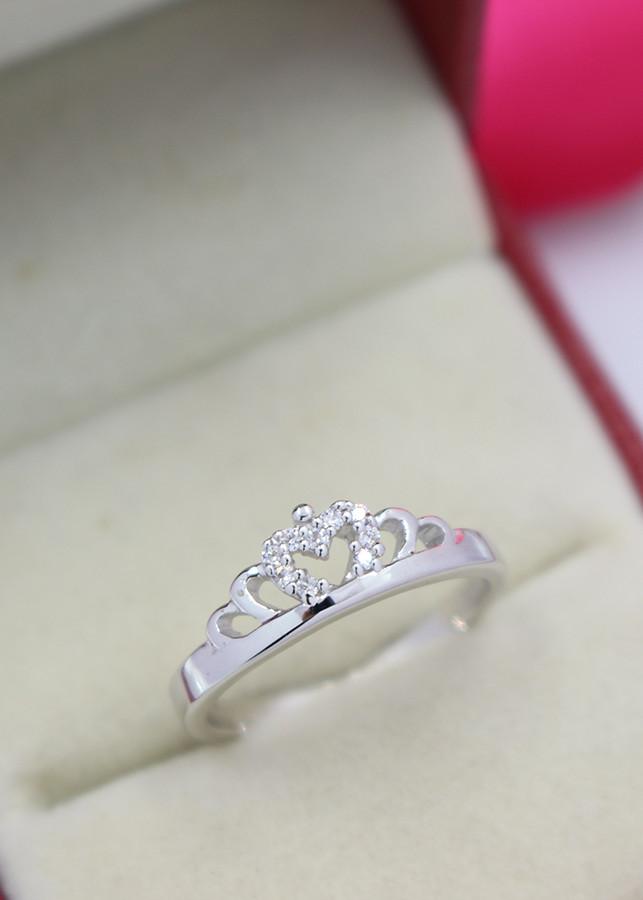 Nhẫn bạc nữ đẹp hình vương miện đính đá tinh tế NN0191