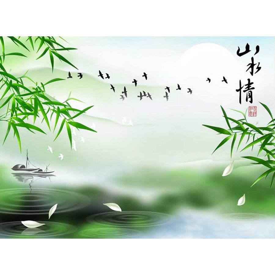 Tranh dán tường 3d | Tranh dán tường phong thủy hoa sen cá chép 3d 348