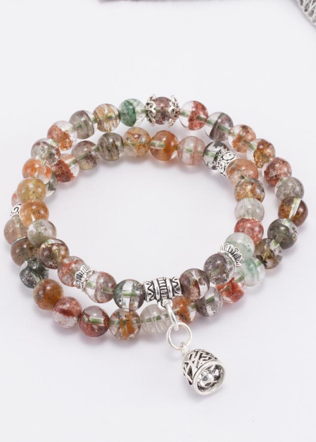 Vòng 2 line thạch anh ưu linh đa sắc phối charm chuông bạc Ngọc Quý Gemstones