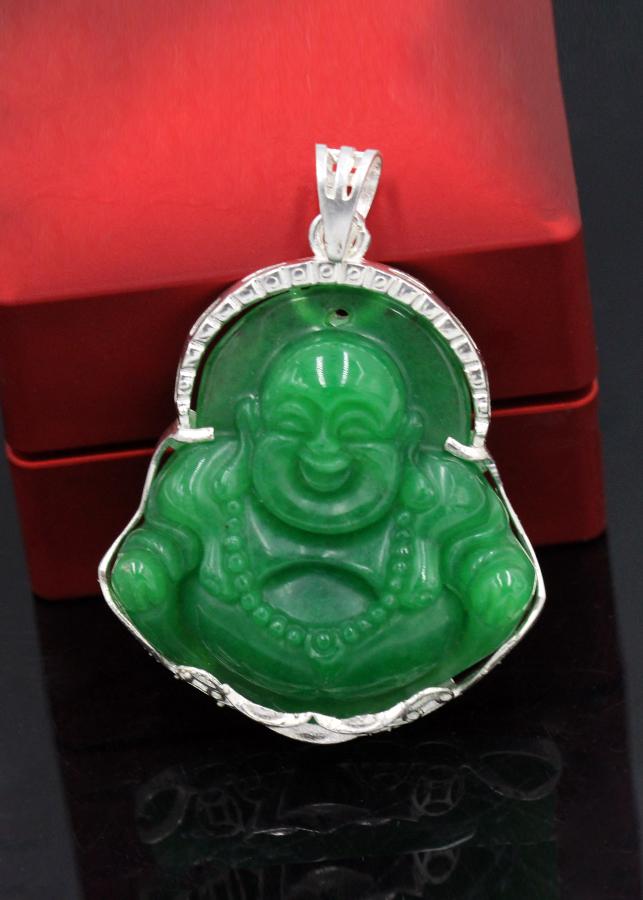 Mặt Dây Chuyền Phật Di Lặc Đá Xanh To Bọc Bạc VCB