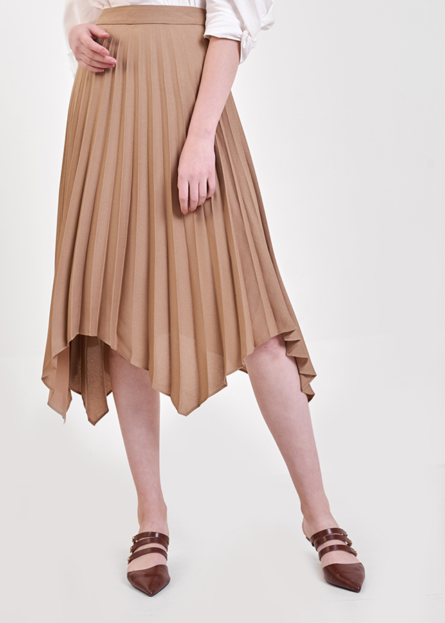 Váy Nữ Midi Dập Ly Lai Cắt Marc Fashion CN118818 - Nâu