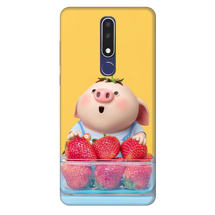 Ốp lưng nhựa cứng nhám dành cho Nokia 3.1 Plus in hình Heo Con Dâu Tây