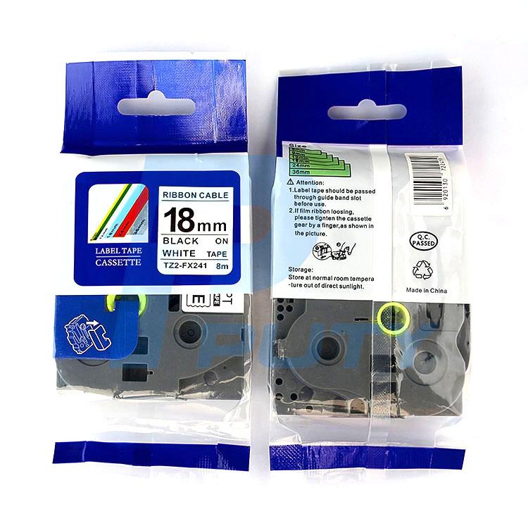 Nhãn in siêu dẻo TZ2-FX241, khổ 18mm x 8m, chữ đen nền trắng, dùng cho máy in nhãn Brother
