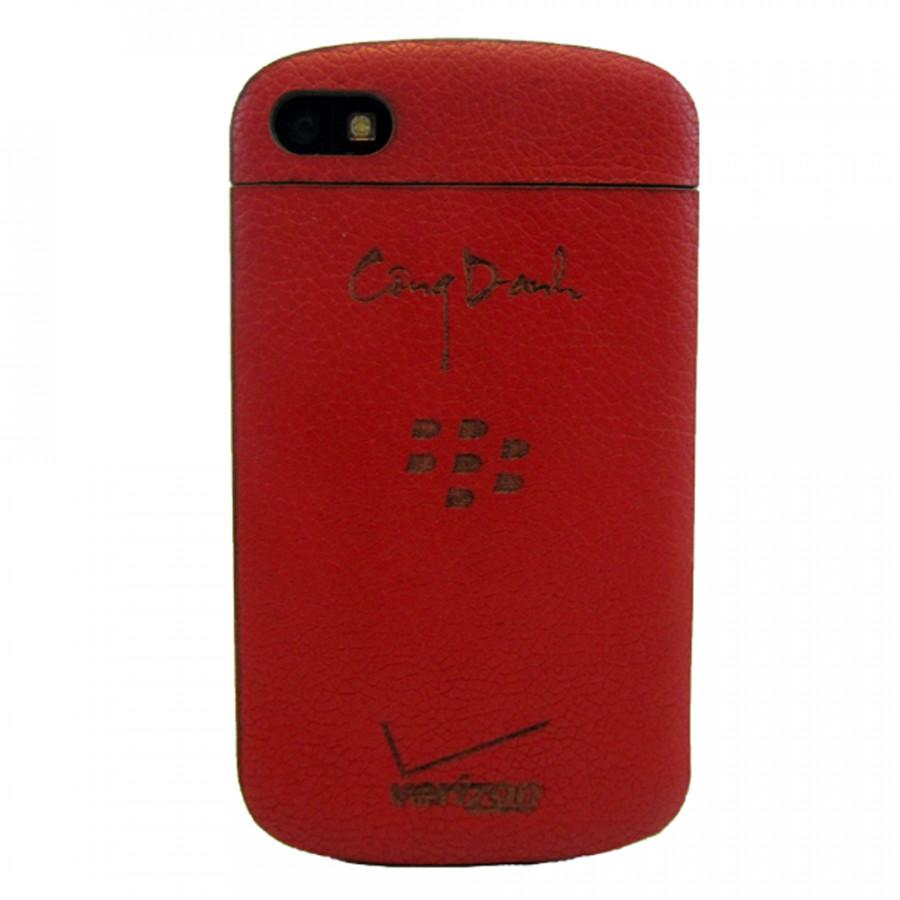 Ốp da dán Blackberry Q10 - Da thật nhập khẩu cao cấp - Davis (Đỏ vân)