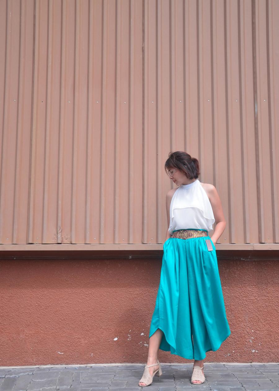 Quần ống xếch đai thêu, màu xanh ngọc lưng thun size 2
