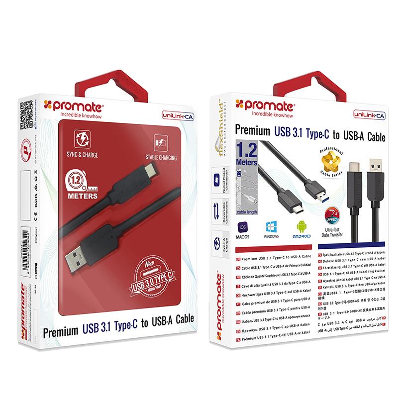 Cáp Chuyển Đổi Promate UniLink-CA USB Type C 3.1 Sang USB-A 1m - Đen