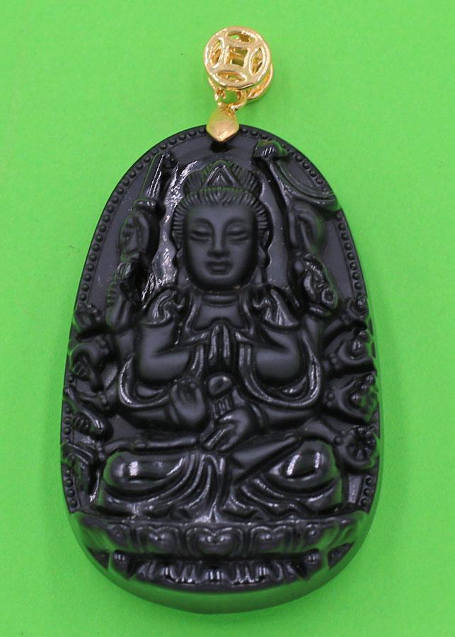 Mặt dây chuyền Phật Quan âm nghìn tay nghìn mắt đá thạch anh đen 5cm phật bản mệnh tuổi Tý