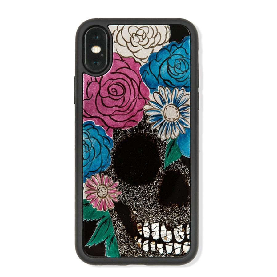 Ốp Lưng Điện Thoại Sơn Mài Skull With Floral Hair Dành Cho iPhone XS Max La Sonmai