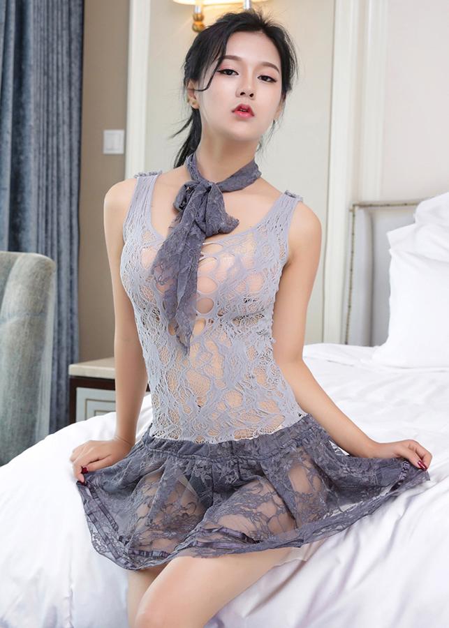 Đầm ngủ siêu mỏng đẹp kèm dây choàng cổ KOY MS1097