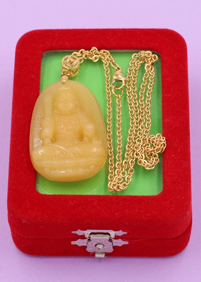 Vòng cổ phật Bất Động Minh Vương - thạch anh vàng 4.3cm DIVTVO1 - dây inox - kèm hộp nhung - tuổi Dậu