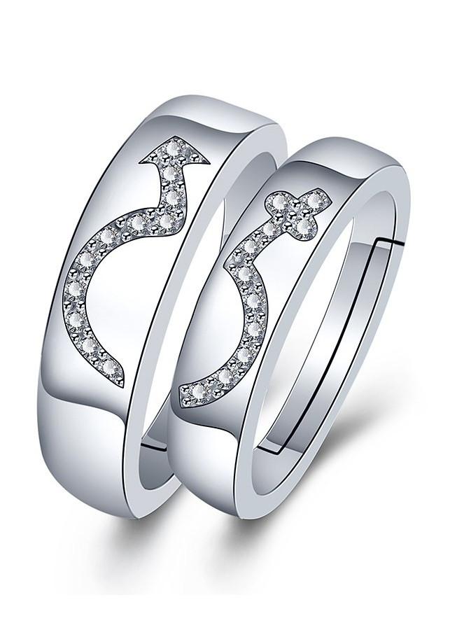 Nhẫn đôi tình nhân Bạc 925 tặng kèm hộp nhung - RC10