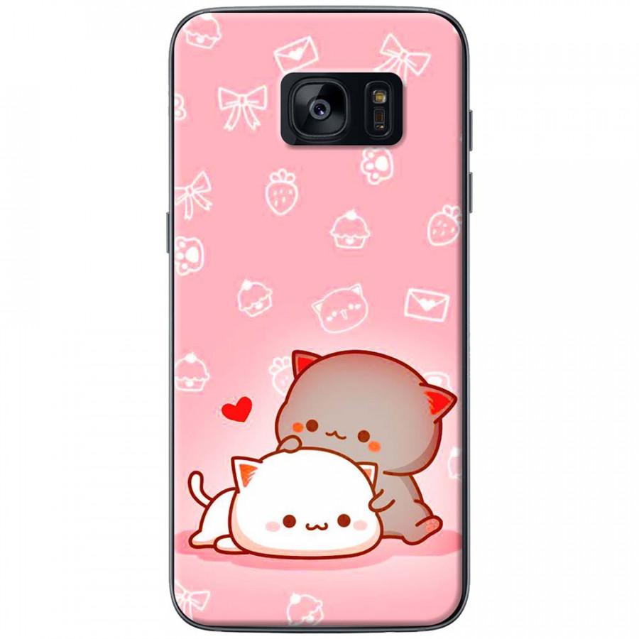 Ốp lưng dành cho Samsung S7 Edge mẫu Mèo mập nền hồng
