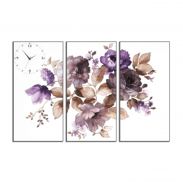 Tranh đồng hồ in Canvas Tranh đồng hồ Hoa lá mùa xuân - 3 mảnh